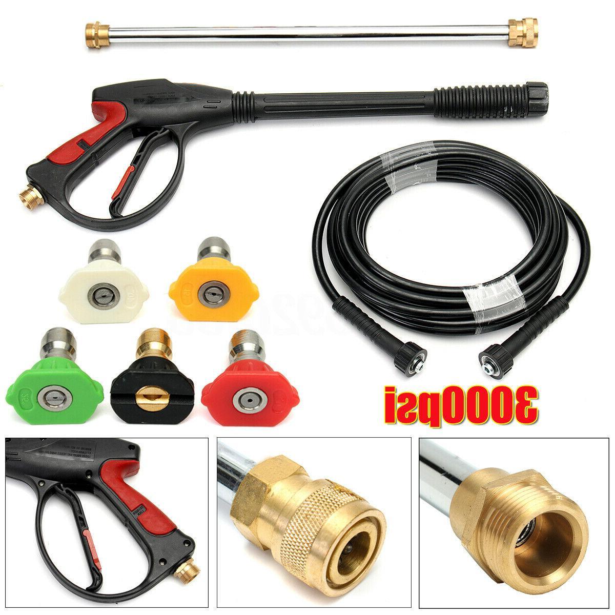 3000 High Car Power Washer Spray Gun Wand Tips Hose Kit