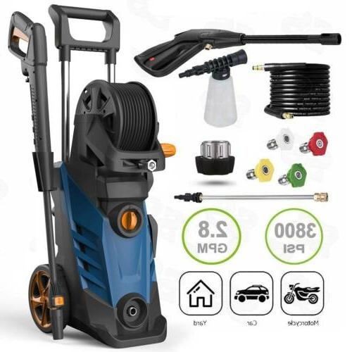 2.8GPM 3800PSI Electric Pressure Washer High Power Auto Jet