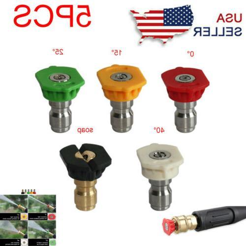 5pcs 1 4 pressure washer spray tips