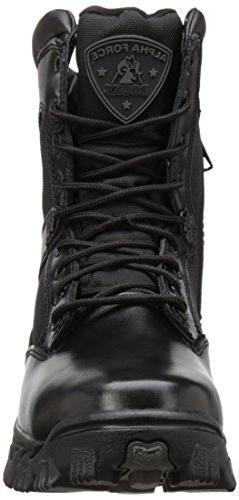 "ROCKY 2173 8""AlphaForce Zipper Black Boots Shoes 8 Wide"