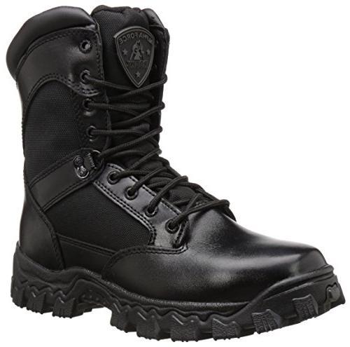 """ROCKY 2173 8""""AlphaForce Zipper Black Boots 8"""