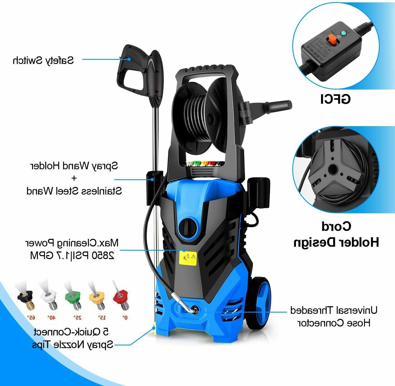 Homdox Electric 3000PSI 1800W Cleaner Machine with 5Nozzles